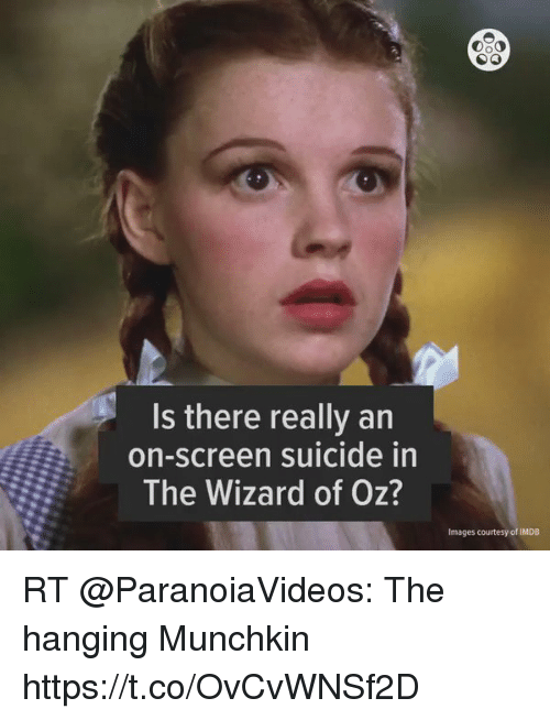 Memes, Images, and Imdb: Is there really an  on-screen suicide in  The Wizard of Oz?  Images courtesy of IMDB RT @ParanoiaVideos: The hanging Munchkin  https://t.co/OvCvWNSf2D