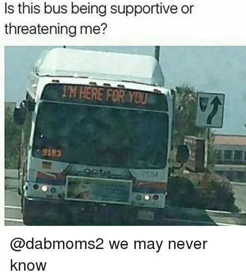 Dank Memes, Never, and Bus: Is this bus being supportive or  threatening me?  TM HERE FOR YOU  9183 @dabmoms2 we may never know