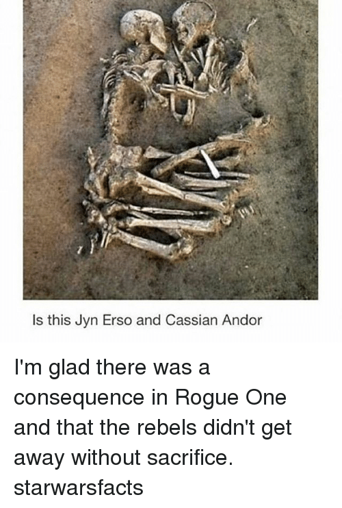 Memes, 🤖, and Glad: Is this Jyn Erso and Cassian Andor I'm glad there was a consequence in Rogue One and that the rebels didn't get away without sacrifice. starwarsfacts