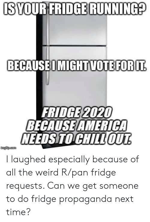pan: IS YOUR FRIDGE RUNNING?  BECAUSEOMIGHTVOTEFOR IT  FRIDGE 2020  BECAUSE AMERICA  NEEDS TO CHILLOUT  mglha.com I laughed especially because of all the weird R/pan fridge requests. Can we get someone to do fridge propaganda next time?