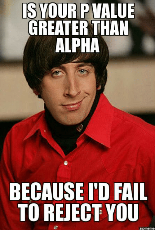 p value: IS YOUR P VALUE  GREATER THAN  ALPHA  BECAUSE ID FAIL  TO REJECT YOU  Zlprmemes