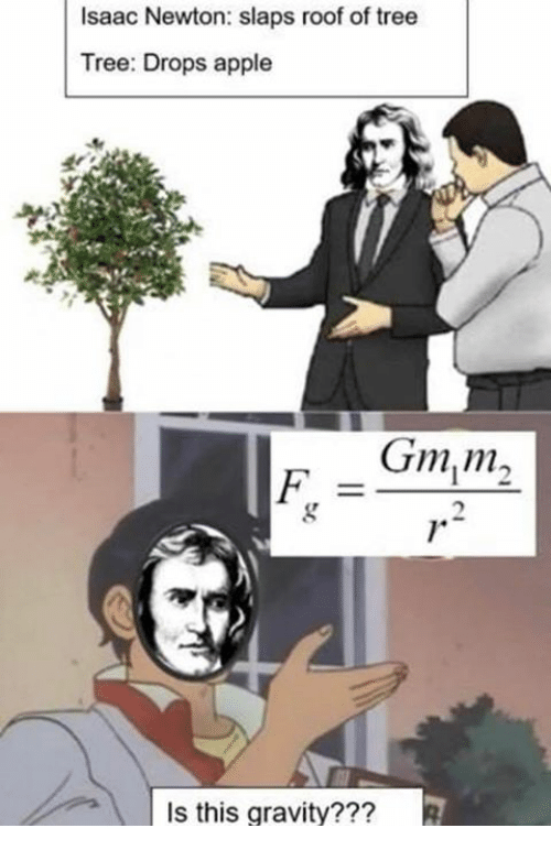 Apple, Gravity, and Tree: Isaac Newton: slaps roof of tree  Tree: Drops apple  Gm,m,  Is this gravity???