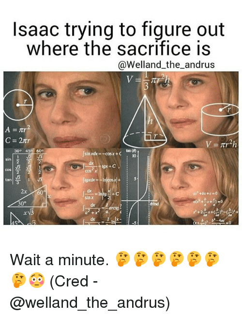 Memes, 300, and 🤖: Isaac trying to figure out  where the sacrifice is  @Welland the andrus  21,  A nr  tan (6)  300 4  600  cosx+C  10  Sin  COS  2x 606  30  arctg  x 3 Wait a minute. 🤔🤔🤔🤔🤔🤔🤔😳 (Cred - @welland_the_andrus)