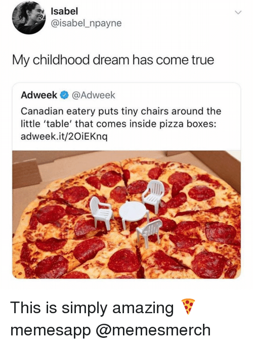 pizza boxes: Isabel  @isabel_npayne  My childhood dream has come true  Adweek @Adweek  Canadian eatery puts tiny chairs around the  little 'table' that comes inside pizza boxes:  adweek.it/2OiEKnq This is simply amazing 🍕 memesapp @memesmerch