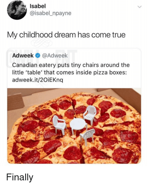 pizza boxes: Isabel  @isabel_npayne  My childhood dream has come true  Adweek @Adweek  Canadian eatery puts tiny chairs around the  little 'table' that comes inside pizza boxes:  adweek.it/2OiEKnq Finally