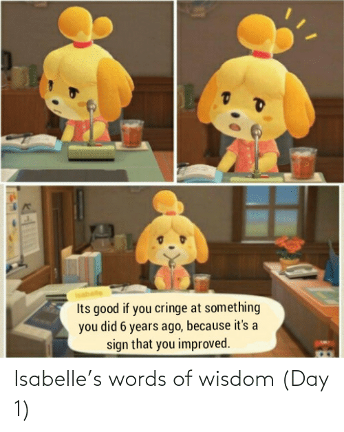 Wisdom: Isabelle's words of wisdom (Day 1)