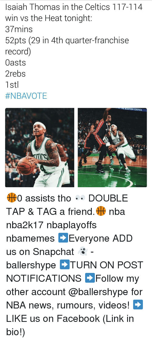Boston Celtics, Celtic, and Nba: Isaiah Thomas in the Celtics 117-114  win vs the Heat tonight  37mins  52pts (29 in 4th quarter-franchise  record)  Oasts  2rebs  1st  #NBAVOTE  mE BOSTON CELTICS.  ALDING. 🏀0 assists tho 👀 DOUBLE TAP & TAG a friend.🏀 nba nba2k17 nbaplayoffs nbamemes ➡Everyone ADD us on Snapchat 👻 - ballershype ➡TURN ON POST NOTIFICATIONS ➡Follow my other account @ballershype for NBA news, rumours, videos! ➡LIKE us on Facebook (Link in bio!)