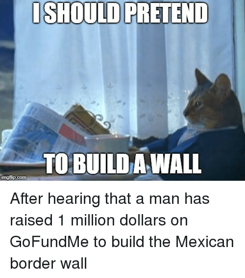 Build A Wall: ISHOULD PRETEND  TO BUILD A WALL  imgflip.com After hearing that a man has raised 1 million dollars on GoFundMe to build the Mexican border wall