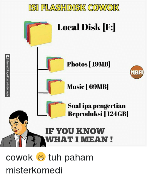 if you know what i mean: ISI FLASHDISK COWOK  Local Disk  3  Photos |19MB  MRFI  Music |69MB  Soal ipa pengertian  Reproduksi 124GB]  IF YOU KNOW  WHAT I MEAN cowok 😁 tuh paham misterkomedi