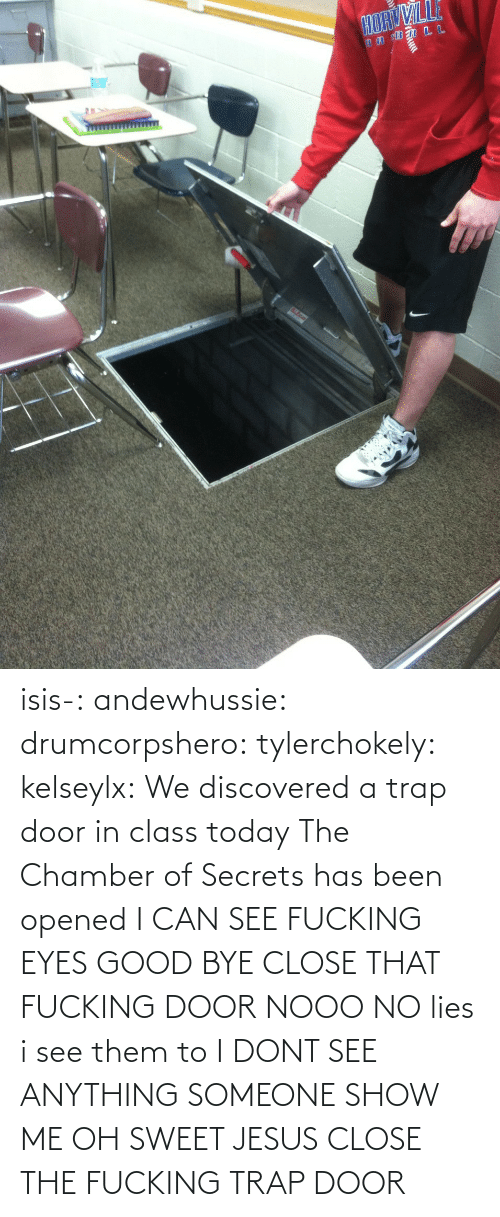 Oh Sweet Jesus: isis-:  andewhussie:  drumcorpshero:  tylerchokely:  kelseylx:  We discovered a trap door in class today The Chamber of Secrets has been opened  I CAN SEE FUCKING EYES GOOD BYE CLOSE THAT FUCKING DOOR  NOOO NO lies i see them to  I DONT SEE ANYTHING SOMEONE SHOW ME  OH SWEET JESUS CLOSE THE FUCKING TRAP DOOR