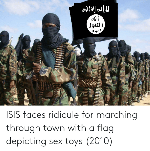 ISIS: ISIS faces ridicule for marching through town with a flag depicting sex toys (2010)
