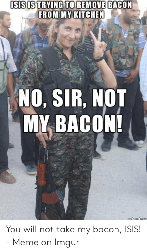 Isis Meme: ISIS IS TRYING TO REMOVE BACON  FROM MY KITCHEN  NO. SIR, NOT  MY BACON!  made on imau