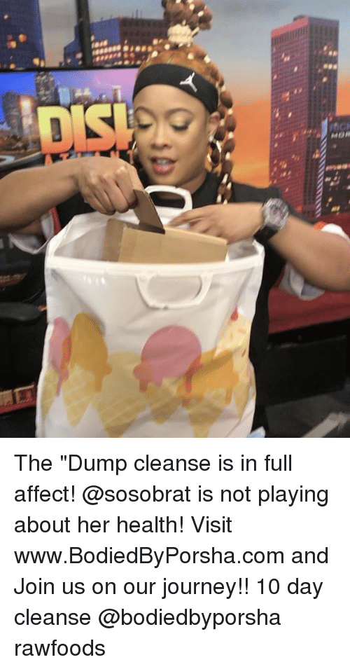 "the dump: Isis  sessees  C)  Mease The ""Dump cleanse is in full affect! @sosobrat is not playing about her health! Visit www.BodiedByPorsha.com and Join us on our journey!! 10 day cleanse @bodiedbyporsha rawfoods"