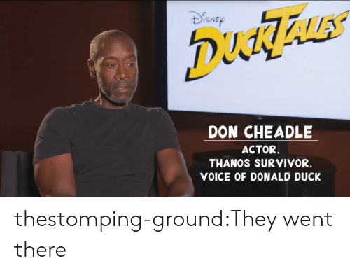donald duck: ISNE  DON CHEADLE  ACTOR.  THANOS SURVIVOR,  VOICE OF DONALD DUCK thestomping-ground:They went there