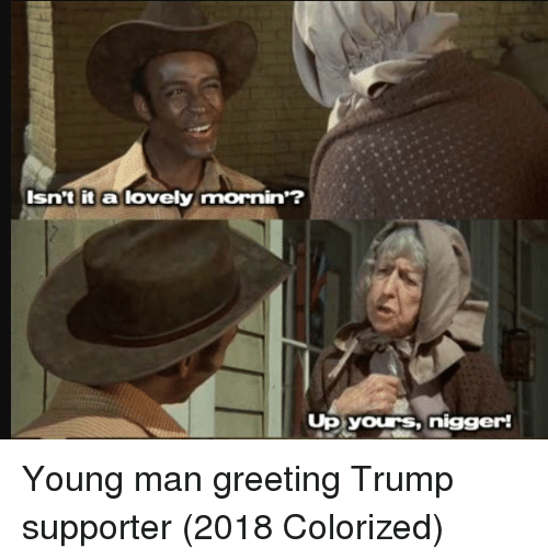 Trump Supporter: Isn't it a lovely mornin'?  Up yours,nigger! Young man greeting Trump supporter (2018 Colorized)