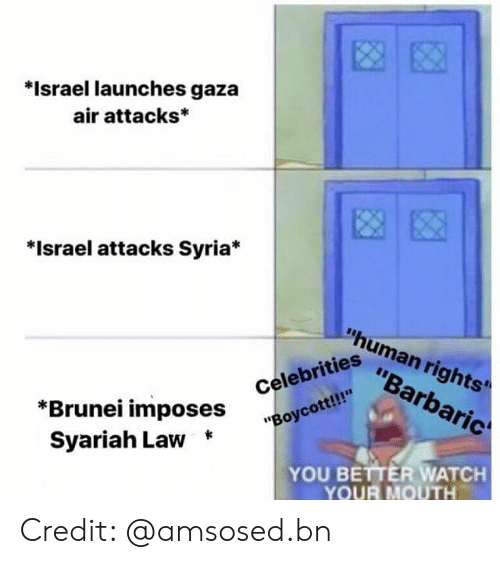 "human rights: *Israel launches gaza  air attacks*  *Israel attacks Syria*  ""human rights'  ""Barbaric  ""Boycott!!  Syariah Law *  iahi ^Oses Celebrities  YOU BETTER WATCH  YOUR MOUTH Credit: @amsosed.bn"
