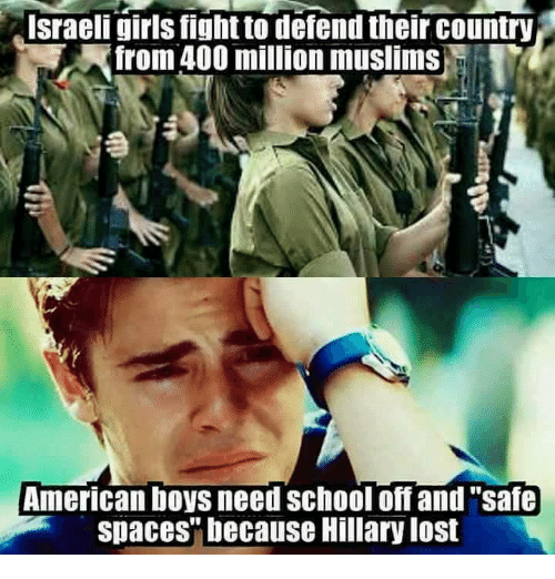"Muslim American: Israeli girls fight to defend their country  from 400 million muslims  American boys need School off and ""safe  spaces"" because Hillary lost"