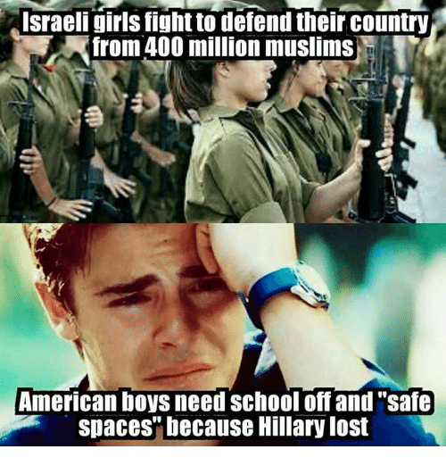 "Muslim American: Israeli girls fightto defend their country  from 400 million muslims  American boys need School off and ""safe  spaces"" because Hillary lost"
