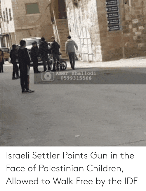Israeli: Israeli Settler Points Gun in the Face of Palestinian Children, Allowed to Walk Free by the IDF