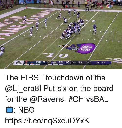 9/11, Memes, and Goal: ist &  GOAL  CHI 7  BAL 10 3rd 9:11 :40 1st & Goal The FIRST touchdown of the @Lj_era8! Put six on the board for the @Ravens. #CHIvsBAL  📺: NBC https://t.co/nqSxcuDYxK