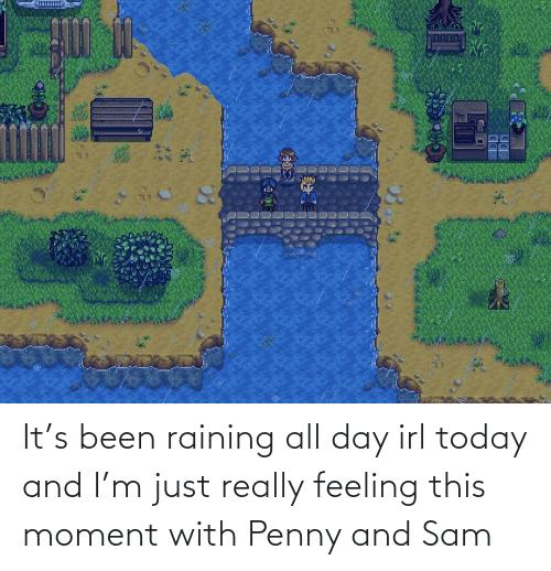 raining: It's been raining all day irl today and I'm just really feeling this moment with Penny and Sam