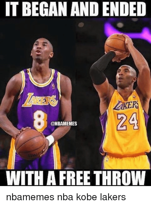 Basketball, Nba, and Sports: IT BEGAN AND ENDED  24  @NBAMEMES  WITH A FREE THROW nbamemes nba kobe lakers