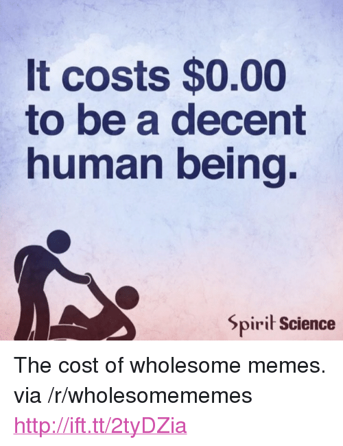"Spirit Science: It costs $0.00  to be a decent  human being  Spirit Science <p>The cost of wholesome memes. via /r/wholesomememes <a href=""http://ift.tt/2tyDZia"">http://ift.tt/2tyDZia</a></p>"