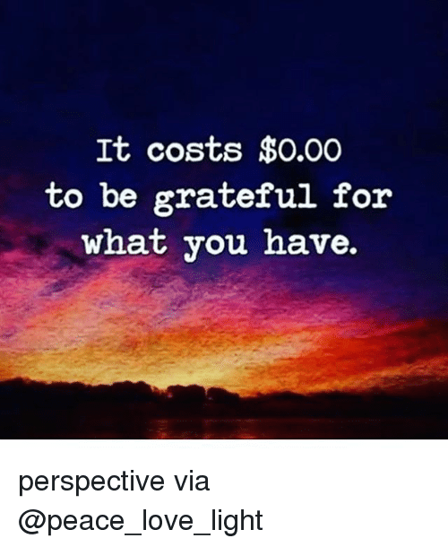 Love, Memes, and Peace: It costs $0.00  to be grateful for  what you have. perspective via @peace_love_light