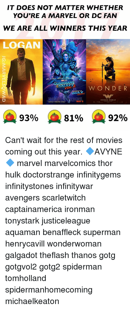 Memes, Movies, and Superman: IT DOES NOT MATTER WHETHER  YOU'RE A MARVEL OR DC FAN  WE ARE ALL WINNERS THIS YEAR  LOGAN  BEGAN AYY  W ON DER  IMMAX  MAY 5  A 93%  81%  92% Can't wait for the rest of movies coming out this year. 🔷AVYNE🔷 marvel marvelcomics thor hulk doctorstrange infinitygems infinitystones infinitywar avengers scarletwitch captainamerica ironman tonystark justiceleague aquaman benaffleck superman henrycavill wonderwoman galgadot theflash thanos gotg gotgvol2 gotg2 spiderman tomholland spidermanhomecoming michaelkeaton