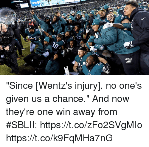 """Memes, 🤖, and One: it/  EABLE """"Since [Wentz's injury], no one's given us a chance.""""  And now they're one win away from #SBLII: https://t.co/zFo2SVgMIo https://t.co/k9FqMHa7nG"""