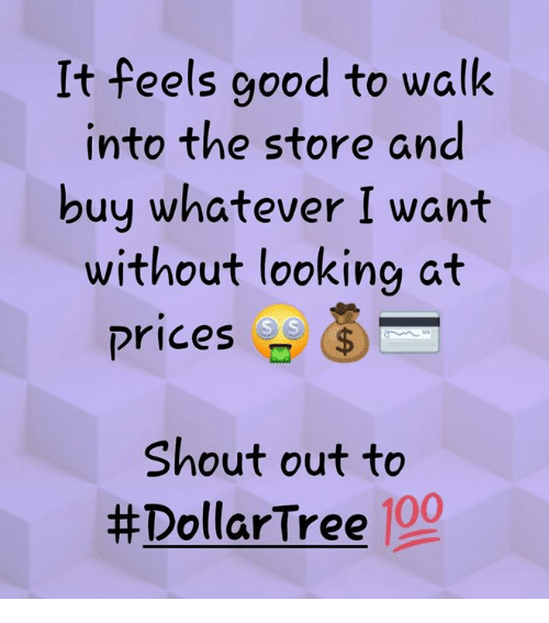Anaconda, Memes, and Good: It feels good to walk  into the store and  buy whatever I want  without looking at  prices  ⑤_  Shout out to  #DollarTree 100