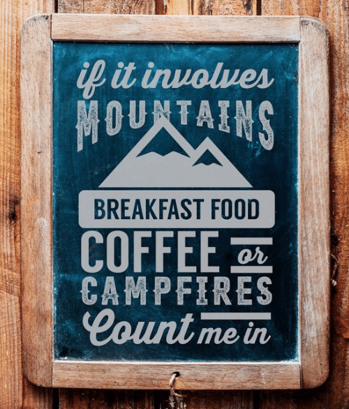 count me in: it inuolues  BREAKFAST FOOD  COFFEE  Count me in  or