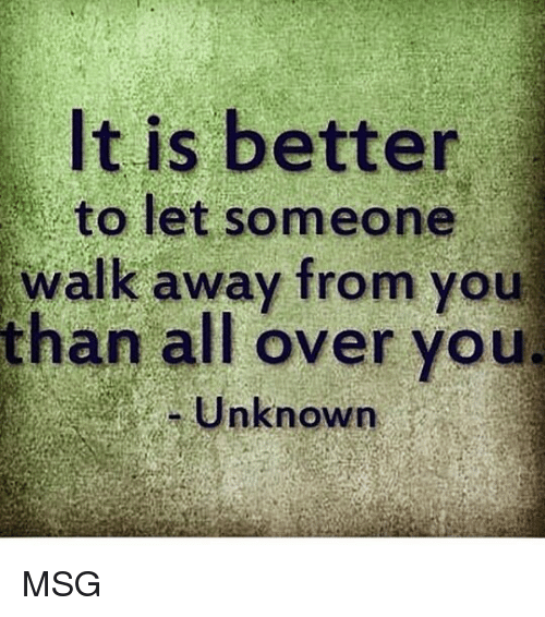 Memes, 🤖, and Msg: It is better  to let someone  walk away from you  than all over you  Unknown MSG