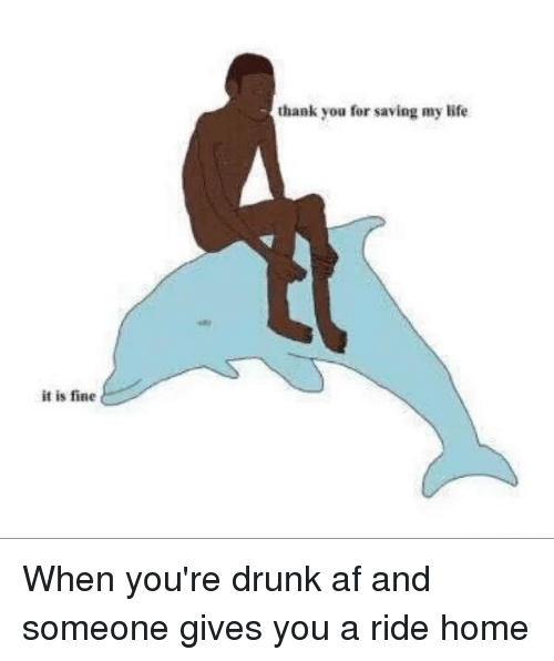 Drunk: it is fine  thank you for saving my life When you're drunk af and someone gives you a ride home
