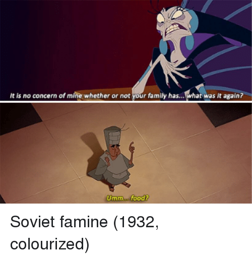 Colourized: It is no concern of mine whether or not your family has...what was it again?  Umm..n. food? Soviet famine (1932, colourized)