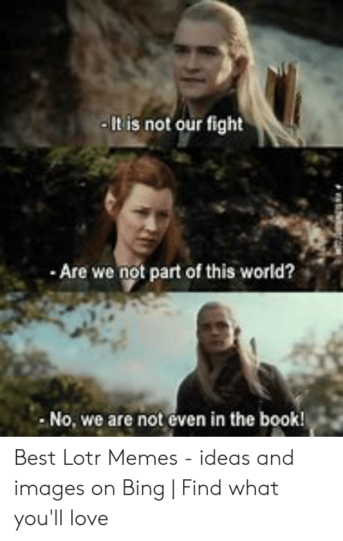 Funny Lord Of The Rings: It is not our fight  Are we not part of this world?  No, we are not even in the book! Best Lotr Memes - ideas and images on Bing   Find what you'll love