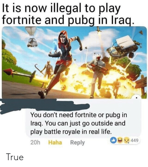 Battle Royale: It is now illegal to play  fortnite and pubg in Iraq.  You don't need fortnite or pubg in  Iraq. You can just go outside and  play battle royale in real life.  449  20h Haha Reply True