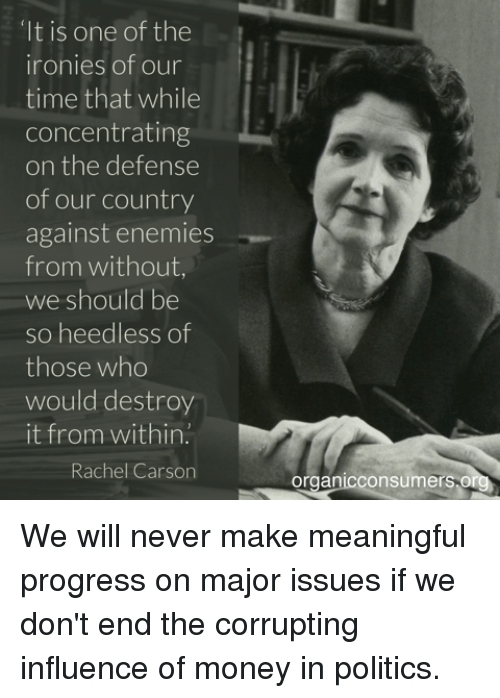 "Memes, Politics, and Progressive: ""It is one of the  ironies of our  time that while  concentrating  on the defense  of our country  against enemies  from without  we should be  so heedless of  those who  would destroy  it from within.  Rachel Carson  onsumers or  Organic We will never make meaningful progress on major issues if we don't end the corrupting influence of money in politics."