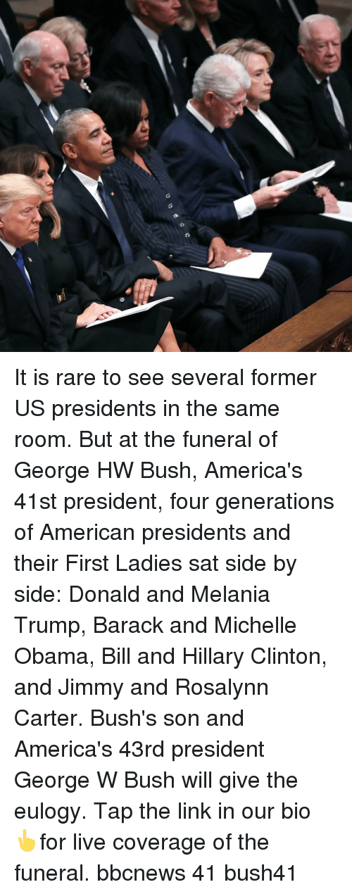 Melania: It is rare to see several former US presidents in the same room. But at the funeral of George HW Bush, America's 41st president, four generations of American presidents and their First Ladies sat side by side: Donald and Melania Trump, Barack and Michelle Obama, Bill and Hillary Clinton, and Jimmy and Rosalynn Carter. Bush's son and America's 43rd president George W Bush will give the eulogy. Tap the link in our bio 👆for live coverage of the funeral. bbcnews 41 bush41
