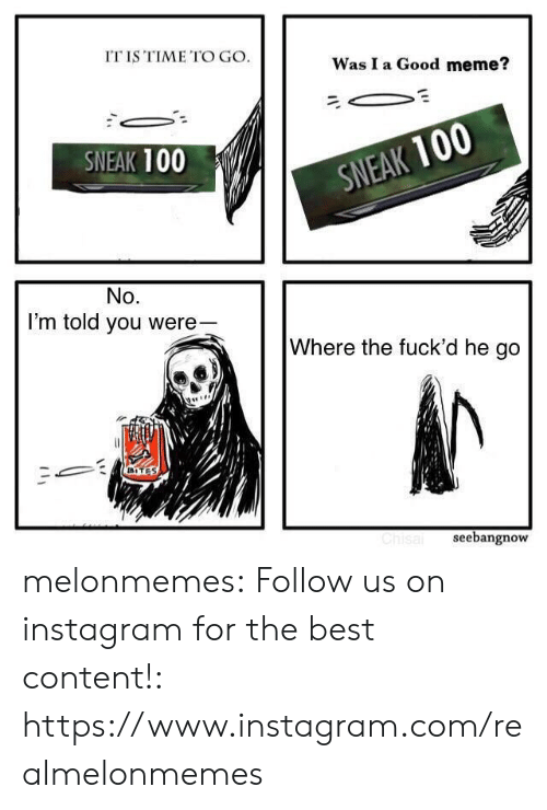 Good Meme: IT IS TIME TO GO.  Was I a Good meme?  SNEAK 100  SNEAK 100  No.  I'm told you were-  Where the fuck'd he go  BITES  Chisal  seebangnow melonmemes:  Follow us on instagram for the best content!: https://www.instagram.com/realmelonmemes