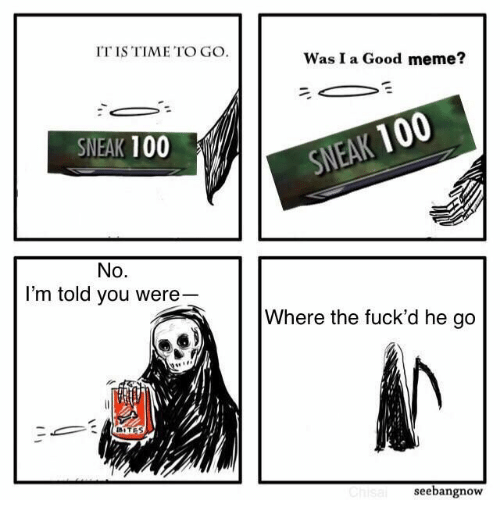 Good Meme: IT IS TIME TO GO  Was I a Good meme?  SNEAK 100  SNEAK 100  No.  I'm told you were  Where the fuck'd he go  BITES  Chisal  seebangnow