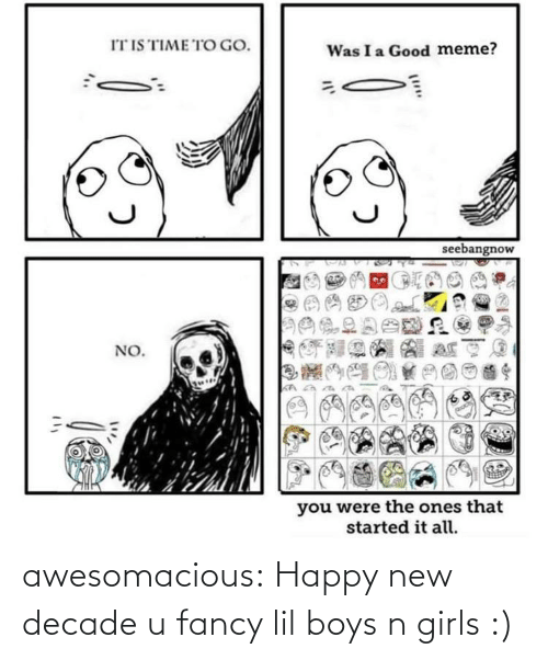 Good Meme: IT IS TIME TO GO.  Was I a Good meme?  seebangnow  NO.  you were the ones that  started it all. awesomacious:  Happy new decade u fancy lil boys n girls :)