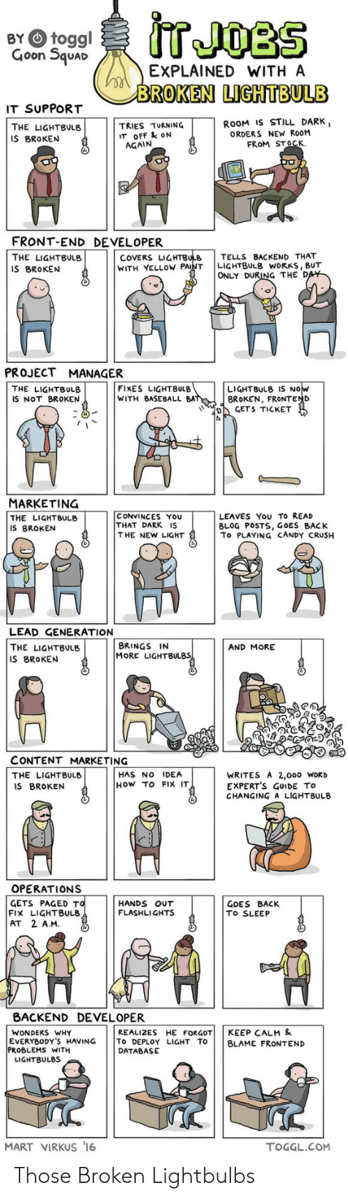 marketing: IT JOBS  BY toggl  Goon Squad  EXPLAINED WITH A  BROKEN LIGHTBULB  IT SUPPORT  ROOM IS STILL DARK,  ORDERS NEW ROOM  FROM STOCK  TRIES TURNING  IT OFF & oN  AGAIN  THE LIGHTBULB  IS BROKEN  FRONT-END DEVELOPER  COVERS LIGHTBULB  WITH VELLOW PAINT  TELLS BACKEND THAT  LIGHTBULB WORKS, BUT  ONLY DURING THE DAY  THE LIGHTBULB  IS BROKEN  PROJECT MANAGER  FIXES LIGHTBULB  WITH BASEBALL BAT  LIGHTBULB IS NOw  BROKEN, FRONTEND  CETS TICKET  THE LIGHTBULB  IS NOT BROKEN  MARKETING  CONVINCES YOU  THAT DARK IS  THE NEW LIGHT  LEAVES You TO READ  BLOG POSTS, GOES BACK  To PLAYING CANDY CRUSH  THE LIGHTBULB  IS BROKEN  LEAD GENERATION  BRINGS IN  MORE LIGHTBULBS  THE LIGHTBULB  AND MORE  IS BROKEN  CONTENT MARKETING  HAS NO IDEA  THE LIGHTBULB  IS BROKEN  WRITES A 2,ooo WORD  EXPERT'S GUIDE TO  CHANGING A LIGHTBULB  HOw TO FIx IT  OPERATIONS  GETS PAGED TO  FIx LIGHTBULB  AT 2 A.M.  HANDS OUT  FLASHLIGHTS  GOES BACK  TO SLEEP  BACKEND DEVELOPER  REALIZES HE FORGOT  To DEPLOY LIGHT TO  DATABASE  KEEP CALM &  WONDERS WHY  EVERYBODY'S HAVING  PROBLEMS WITH  LIGHTBULBS  BLAME FRONTEND  MART VIRKUS '16  TOGGL.COM Those Broken Lightbulbs