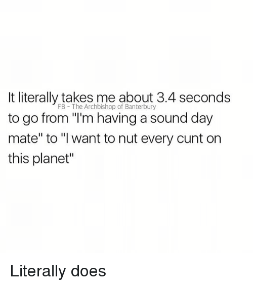 """Cunt, British, and Sound: It literally takes me about 3.4 seconds  to go from """"'m having a sound day  mate"""" to """"I want to nut every cunt on  this planet""""  FB The Archbishop of Banterbury Literally does"""