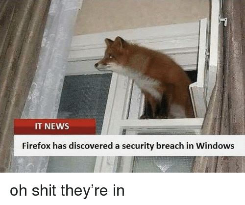 Firefox: IT NEWS  Firefox has discovered a security breach in Windows oh shit they're in