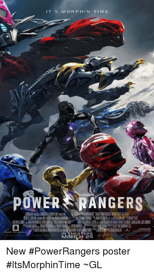 Morphe: IT S MORPH IN TIME  POWER RANGERS  HEATERS  MARCH 24 New #PowerRangers poster #ItsMorphinTime  ~GL