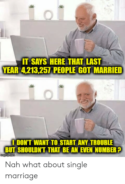It Says Here: IT SAYS HERE THAT LAST  YEAR 4,213,257 PEOPLE GOT MARRIED  I DON'T WANT TO START ANY TROUBLE  BUT SHOULDN'T THAT BE AN EVEN NUMBER?  imgilp.com Nah what about single marriage