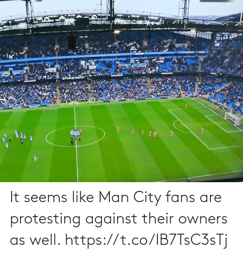 man city: It seems like Man City fans are protesting against their owners as well. https://t.co/IB7TsC3sTj