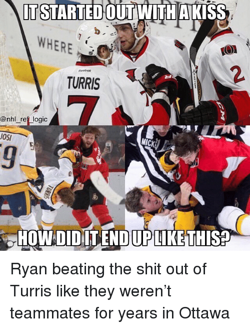 mick: IT STARTEDOUT WITH AKIS  WHERE  2.  TURRIS  @nhl _reft logic  MICK  OSI  HOWDIDILENDIUPLIKE THIS Ryan beating the shit out of Turris like they weren't teammates for years in Ottawa