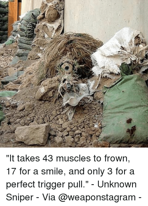 "Memes, Smile, and 🤖: ""It takes 43 muscles to frown, 17 for a smile, and only 3 for a perfect trigger pull."" - Unknown Sniper - Via @weaponstagram -"